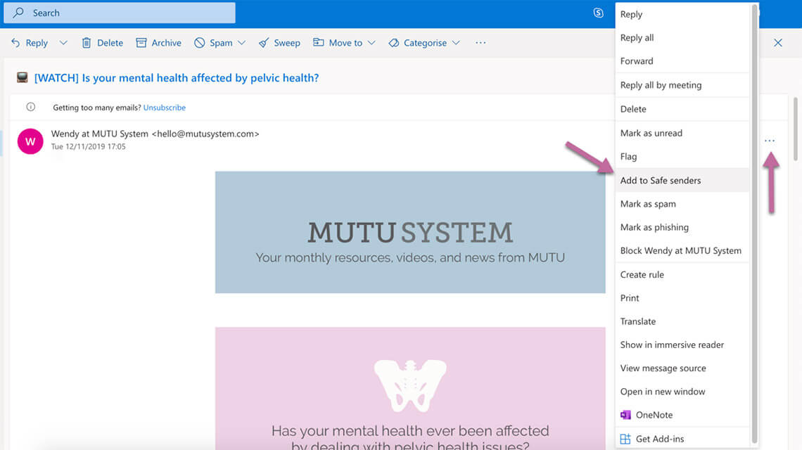 Instructions to whitelist MUTU on Outlook